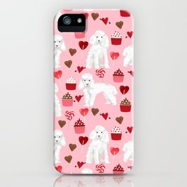 Toy poodle white poodles valentines day cupcakes love hearts dog breed pet portrait pattern gifts pe iPhone Case