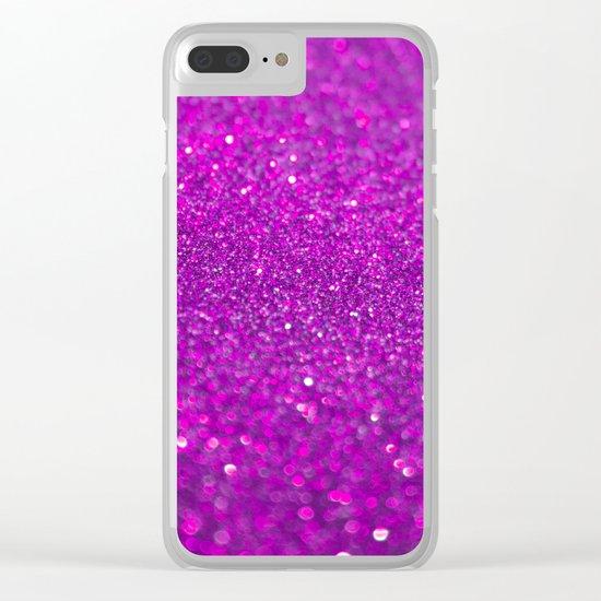 Bright Fuchsia Glitter Clear iPhone Case
