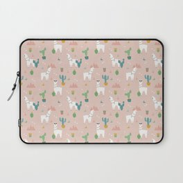 Summer Llamas on Pink Laptop Sleeve