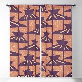Mid Century Modern Pendant Lamp Composition Orange and Eggplant Blackout Curtain