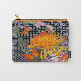 Pink-Orange Golden Spider Mum Butterflies Design Carry-All Pouch