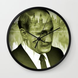 V. Putin on transparent Moscow skyline background  009 04 03 17 Wall Clock