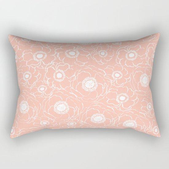 Blush Flowers cute boho modern floral pattern print spring summer garden nature love monochrome Rectangular Pillow