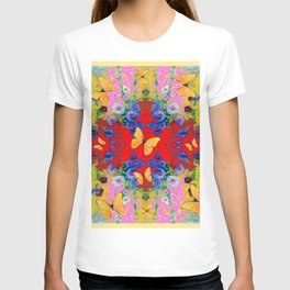 PINK GARDEN BLUE  FLOWERS YELLOW BUTTERFLIES T-shirt