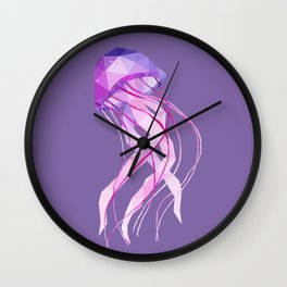 Low Poly Pelagia Noctiluca Jelly Fish. Wall Clock