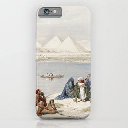 View on the Nile looking towards the pyramids of Dashour and Saccara  by David Roberts (1796-1864) iPhone Case