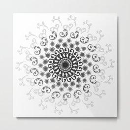 White, Black, Silver and Gray Mandala on Light Background Metal Print