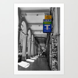 Bologna in Summer Black and White Street Photography  Art Print
