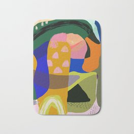 Shapes and Layers no.20 - Abstract painting olive green blue orange black Bath Mat