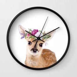 Baby Deer with Flower Crown Wall Clock