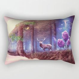 Fantasy Animal Fantasy Animals Bear Deer Stork Artistic Forest Owl Rectangular Pillow