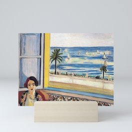 Seated Woman, Back Turned to the Open Window of Ocean & Seaside by Henri Matisse Mini Art Print