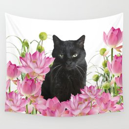 Snoki - Black Cat Lotos Flower Blossoms #black cat Wall Tapestry
