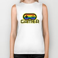 gamer Biker Tanks featuring Rainbow Gamer by UMe Images