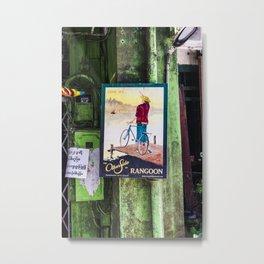 Old vintage poster of Myanmar | Yangon City photo print | Color green travel photography Art print Metal Print