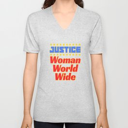 "Cool and creative tee design with text ""Justice Woman World Wide"". Makes a nice gift! Unisex V-Neck"