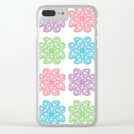 Multicolor Roses Flower Doodle Pattern Clear iPhone Case