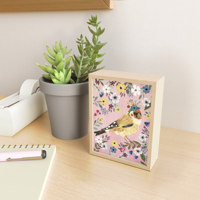 Goldfinch bird with floral crown Framed Mini Art Print