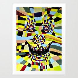 Watercolor Painting Crazy Clown  Art Print