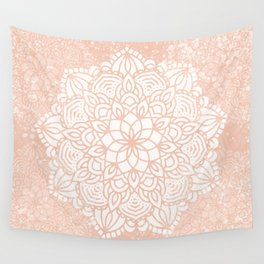 Seashell Mandala Coral Pink and White by Nature Magick Wall Tapestry
