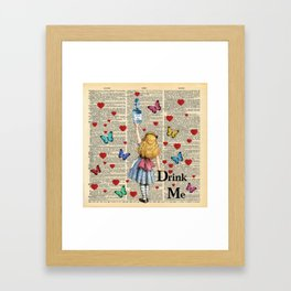 Drink Me - Vintage Dictionary Page - Alice In Wonderland Framed Art Print