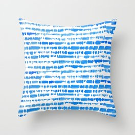 Indigo Shibori Brush Stroke Pattern Throw Pillow