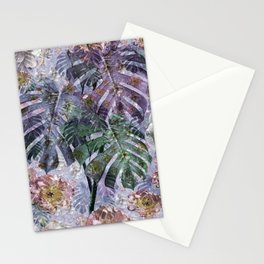 Tropical flowers and leaves Stationery Cards
