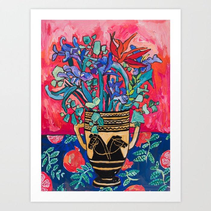 Persephone Painting - Bouquet of Iris and Strelitzia Flowers in Greek Horse Vase Against Coral Pink Kunstdrucke