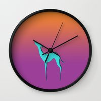 greyhound Wall Clocks featuring Greyhound by eDrawings38