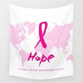 Vector watercolor pink ribbon - breast cancer awareness symbol Wall Tapestry