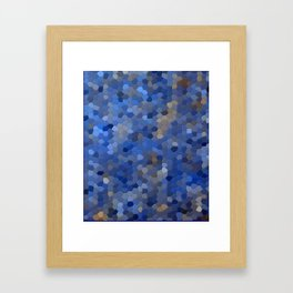 Blue mosaic tile abstract Framed Art Print