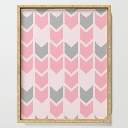 Pink and Grey Directional Arrows Serving Tray