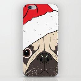 Christmas pug, festive dog vector iPhone Skin