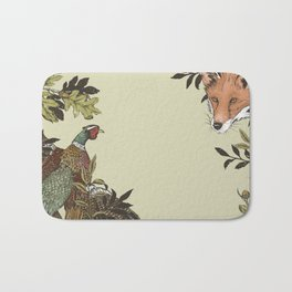 Fox & Pheasant Bath Mat