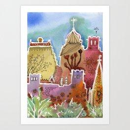 Oxford watercolor #1 Art Print