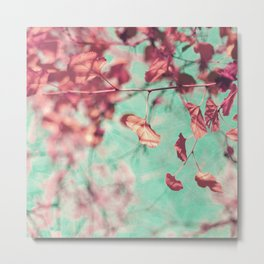 soft purple leafs over mint sky Metal Print