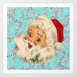 Sweet Vintage Santa with Candy Canes Art Print
