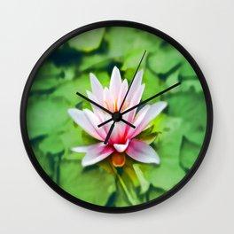 Pink Lotus Waterlily & Green Lily Pads Wall Clock