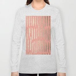 Vertical Dash Tahitian Gold on Coral Pink Stripes Long Sleeve T-shirt