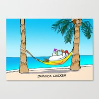 jamaica Canvas Prints featuring jamaica chicken  by GUNGA