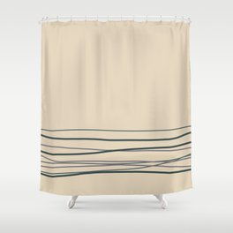 Magic Dust Purple, Night Watch & Juniper Berry Green Horizontal Lines on Alpaca Wool Cream Color Shower Curtain