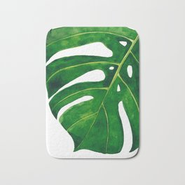 Monstera leaf in watercolor Bath Mat
