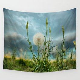 Touchdown - Dandelion Raises Arms in Air During Storm Wall Tapestry