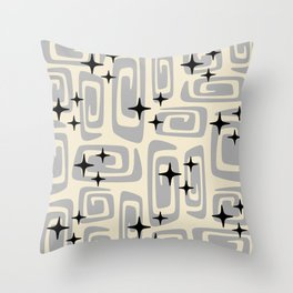 Mid Century Modern Cosmic Galaxies 438 Gray Throw Pillow