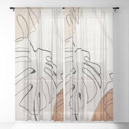 Minimal Abstract Art- Monstera Sheer Curtain