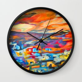 My Village | Colorful Small Mountainy Village Wall Clock