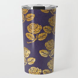 Dark Purple Gold Rose Travel Mug