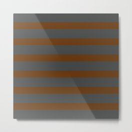 Brown Caramel Stripes on Gray Background Metal Print