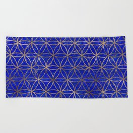 Flower of life pattern - Lapis Lazuli and Gold Beach Towel
