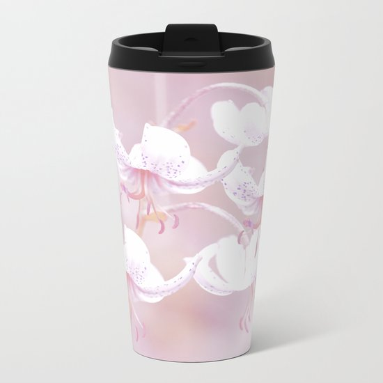 White lilies with pink background Metal Travel Mug